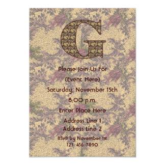 Monogram Initial G Elegant Floral Invite