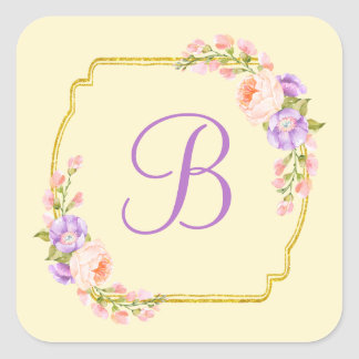 Monogram Initial Gold Frame with Flower Laurels Square Sticker