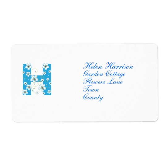 Monogram initial H blue floral address labels