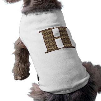 Monogram Initial H Elegant Floral Dog Shirt