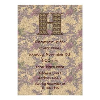 Monogram Initial H Elegant Floral Invite