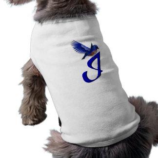 Monogram Initial I Elegant Bluebird Dog Shirt