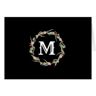 Monogram Initial in Roses & Berry Wreath Notecard