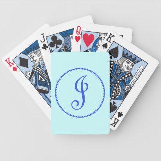 Monogram initial J blue hearts elegant stylish Bicycle Playing Cards