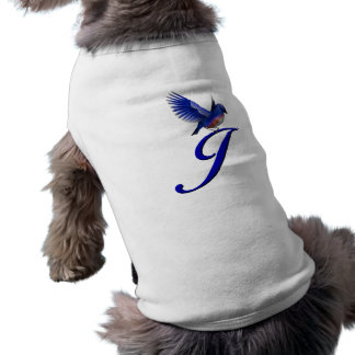 Monogram Initial J Elegant Bluebird Dog Shirt