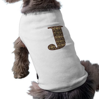 Monogram Initial J Elegant Floral Dog Shirt
