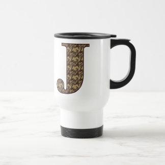 Monogram Initial J Elegant Floral Travel Mug