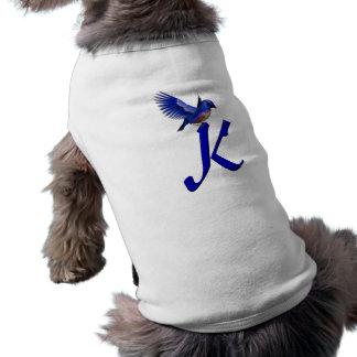 Monogram Initial K Elegant Bluebird Dog Shirt
