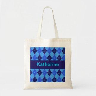 Monogram initial K personalised name tote bag