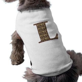 Monogram Initial L Elegant Floral Dog Shirt