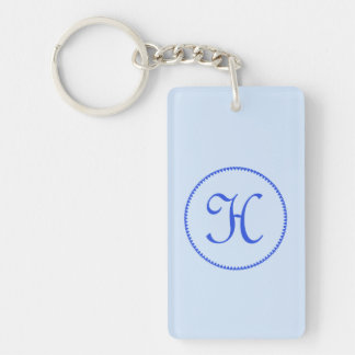 Monogram initial letter H blue hearts circle, gift Double-Sided Rectangular Acrylic Keychain