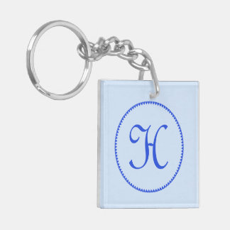 Monogram initial letter H blue hearts circle, gift Double-Sided Square Acrylic Keychain