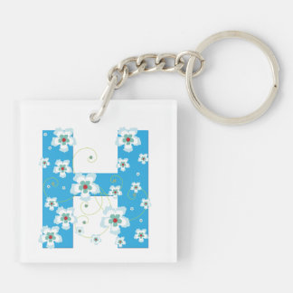 Monogram initial letter H blue hibiscus flowers Double-Sided Square Acrylic Keychain
