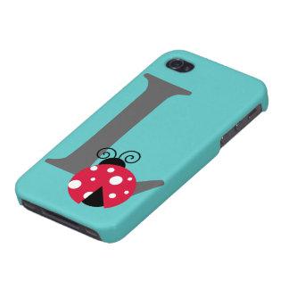 Monogram initial letter L, cute ladybug custom iPhone 4 Cover