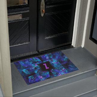 Monogram Initial Letter over Luminous Blue Doormat