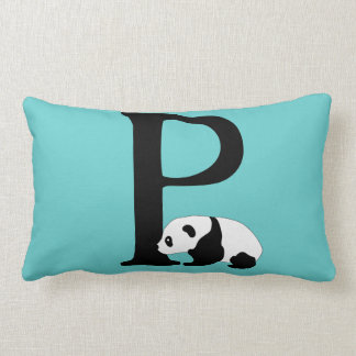 Monogram initial letter P, cute panda bear custom Lumbar Pillow