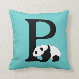 Monogram initial letter P, cute panda bear custom Throw Pillow