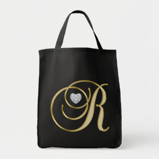 Monogram Initial Letter R Gold Black Heart Diamond Tote Bag