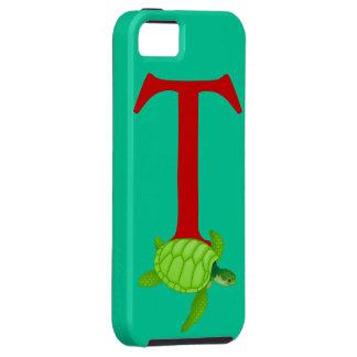 Monogram initial letter T, turtle cartoon custom iPhone 5 Cover