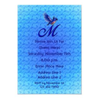 Monogram Initial M Elegant Bluebird Invite
