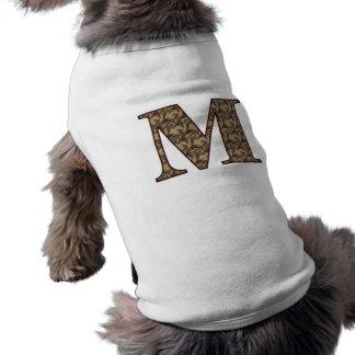 Monogram Initial M Elegant Floral Dog Shirt