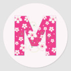 Monogram initial M pretty pink floral stickers