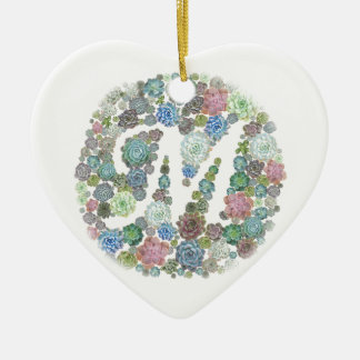 Monogram initial M Succulents design Ceramic Ornament