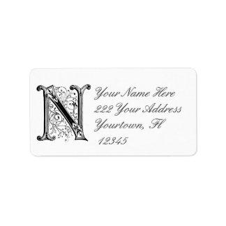 Monogram Initial N  Address Label