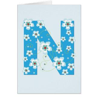 Monogram initial N pretty blue floral card