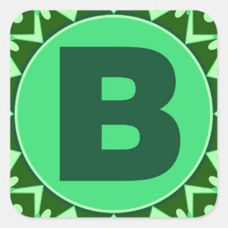 Monogram Initial name green letter alphabet b Square Sticker