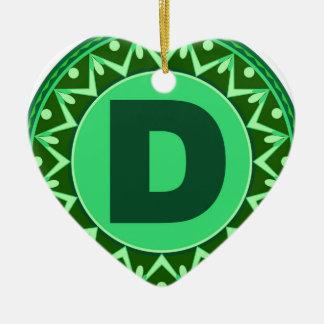 Monogram Initial name green letter alphabet d Ceramic Heart Ornament