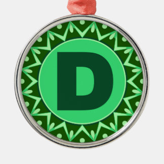 Monogram Initial name green letter alphabet d Silver-Colored Round Ornament