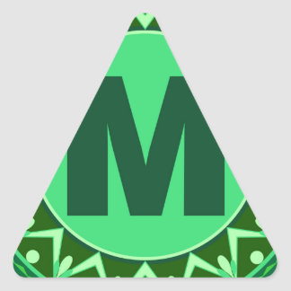 Monogram Initial name green letter alphabet m Triangle Sticker