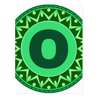 Monogram Initial name green letter alphabet o Postcard