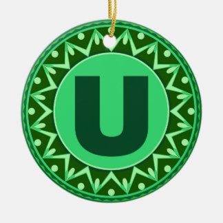 Monogram Initial name green letter alphabet u Round Ceramic Ornament