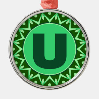 Monogram Initial name green letter alphabet u Silver-Colored Round Ornament