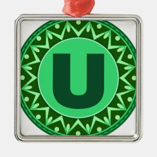 Monogram Initial name green letter alphabet u Silver-Colored Square Ornament