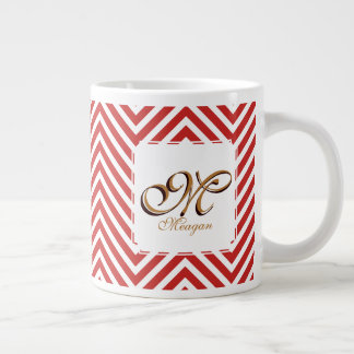 Monogram Initial & Name on Red & White Zigzags Large Coffee Mug