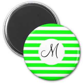 Monogram Initial Neon Green White Striped Pattern 2 Inch Round Magnet