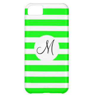 Monogram Initial Neon Green White Striped Pattern iPhone 5C Cases