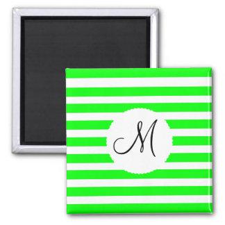 Monogram Initial Neon Green White Striped Pattern Square Magnet