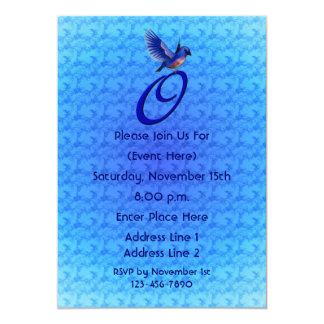Monogram Initial O Elegant Bluebird Invite