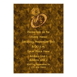 Monogram Initial O Gold Peony Elegant Invite