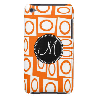 Monogram Initial Orange Fun Circle Square Pattern Barely There iPod Cover