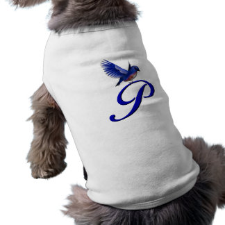 Monogram Initial P Elegant Bluebird Dog Shirt