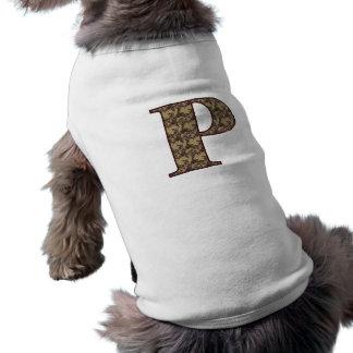 Monogram Initial P Elegant Floral Dog Shirt