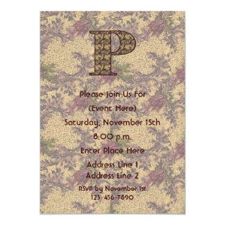 Monogram Initial P Elegant Floral Invite
