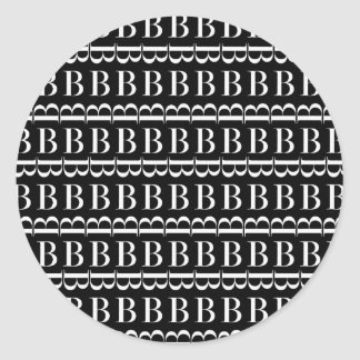 Monogram Initial Pattern, Letter B in White Classic Round Sticker