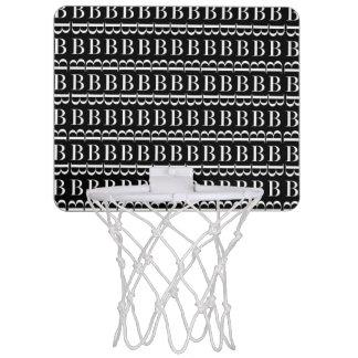 Monogram Initial Pattern, Letter B in White Mini Basketball Hoop