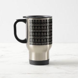 Monogram Initial Pattern, Letter B in White Travel Mug